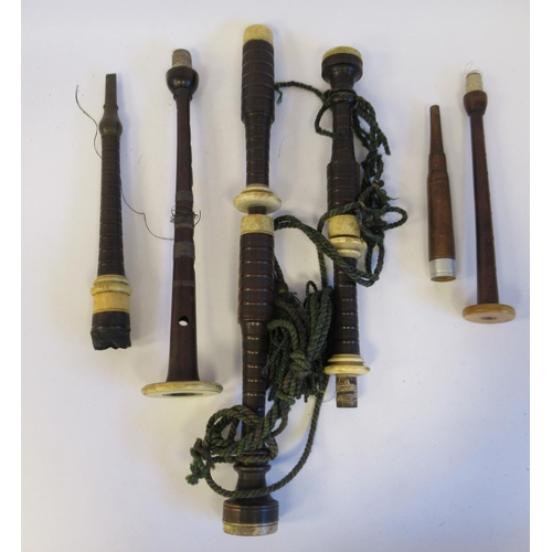 7 - A set of vintage hardwood and ivory mounted bagpipes, the chanter stamped DnMcDougall, BreadalBane&n...