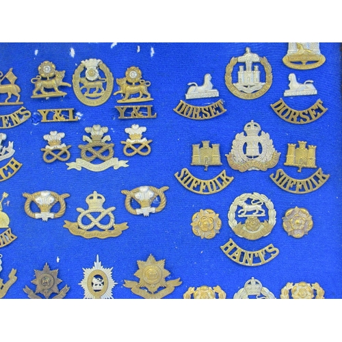 9 - Approx. fifty military cap badges and other insignia, some copies: to include The Dorsetshire, Leice...
