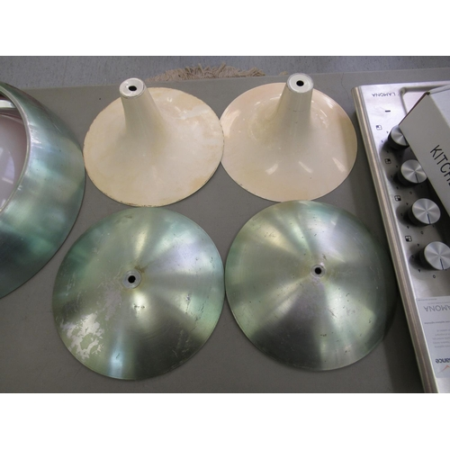 13 - Two dissimilar, retro style lights, viz. domed centre lights with stainless steel borders and perspe...