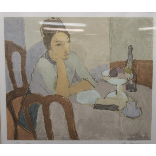 26 - 20thC British School - a woman, sitting, pondering at a table Limited Edition coloured print 197/20...