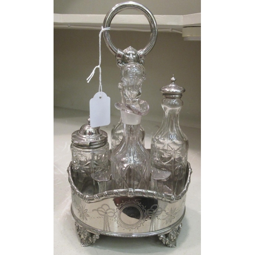 34 - Two early/mid 20thC silver plated cruets with glass jars and a triform tantalus, containing three et...