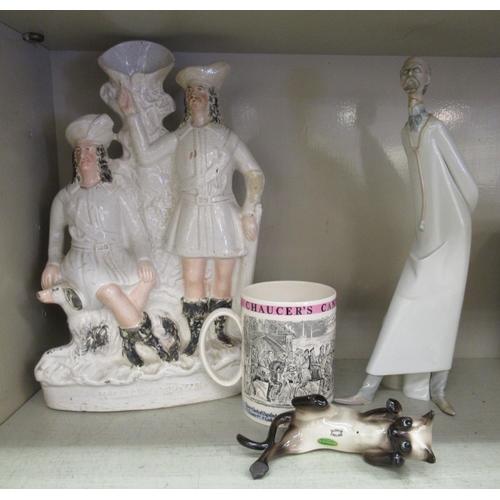 46 - Decorative ceramics: to include a Staffordshire pottery flatback 'Robin Hood' 15