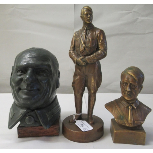 14 - A bronze finished bust of Hitler 6.5