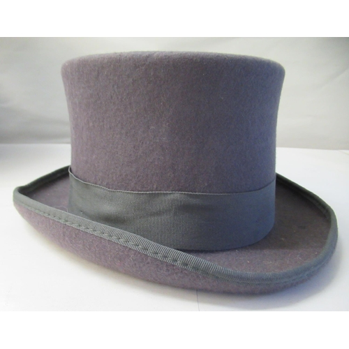 17 - A Major Ware chocolate brown top hat size 6; a Major grey top hat size S; another, in brown size ...