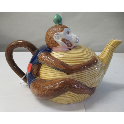 19 - A 20thC reproduction of a Minton majolica teapot, fashioned as a monkey