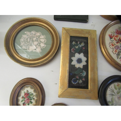 20 - 19th and 20thC embroidered tapestry panels various designs & sizes framed