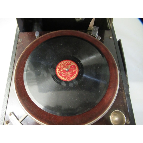 3 - A 1930s Columbia portable gramophone with a folding handle, in a black fabric covered case
