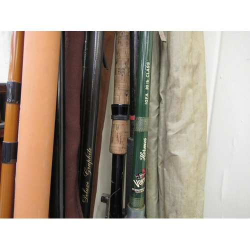 30 - Angling equipment: to include a Hermes Vortex IGFA 30116 Class rod; and another Graphite example