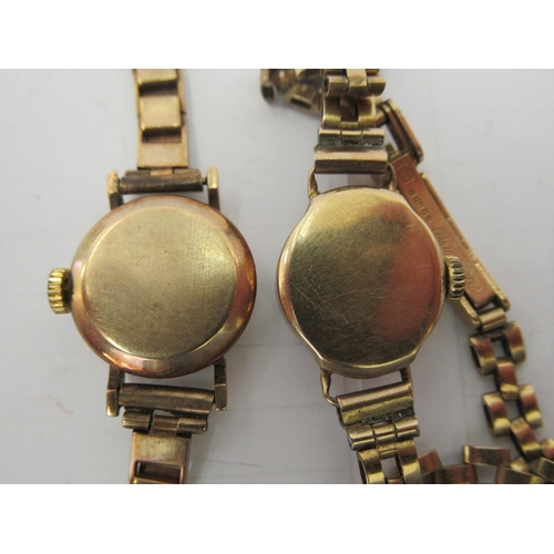 44 - Two ladies 9ct gold wristwatches, faced by Arabic and baton dials