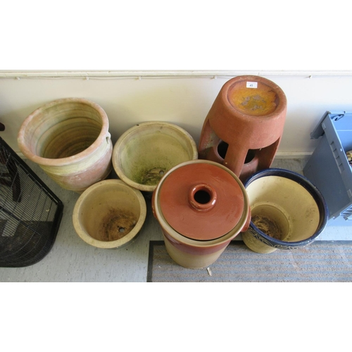 45 - Six stoneware/terracotta and pottery planters various forms largest 22