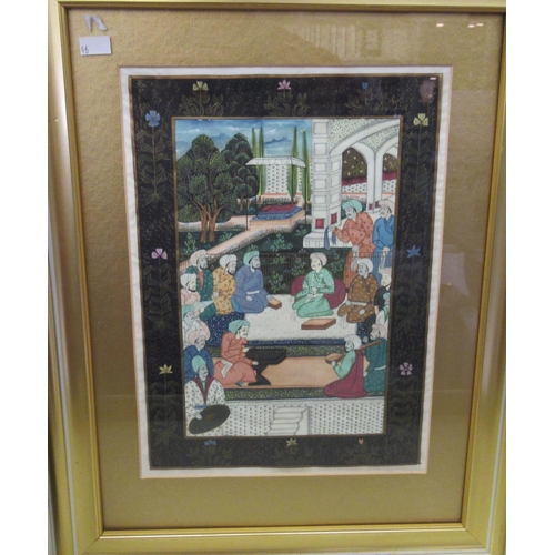 46 - 20thC Indian School - a garden party mixed media on fabric 12