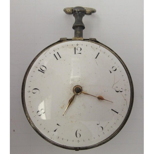 48 - A George III silver cased pocket watch, the verge movement inscribed Geo Robinson, London, the case ...