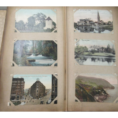 49 - An uncollated postcard album, containing coloured and monochrome issues, church interiors and scenic...
