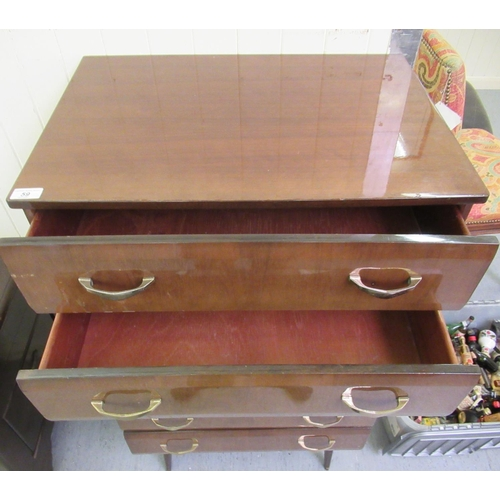 59 - A mid 20thC mahogany finished six drawer dressing chest, raised on tapered legs 45