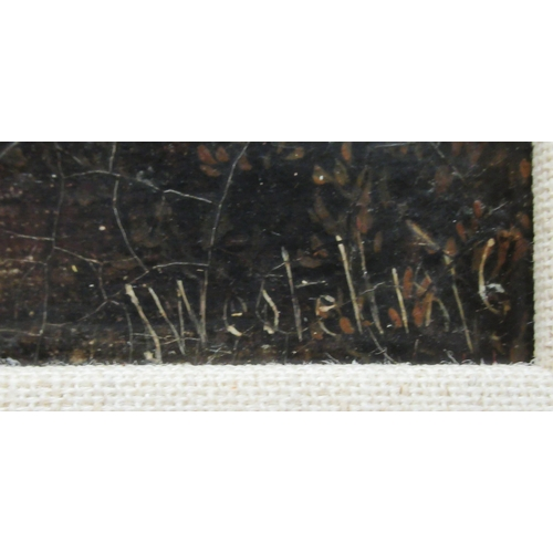 55 - J Westellini - a lone figure on a path in woodland oil on board bears a signature ...