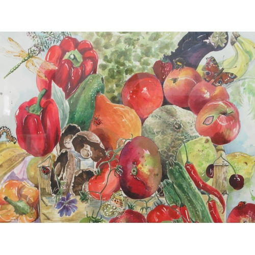 42 - Pictures: to include S Parker - a study of fruit, vegetables and insects pen & watercolour bea...