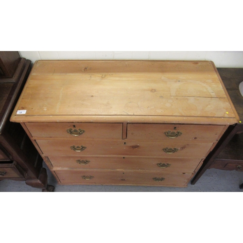 18 - A late Victorian stained pine dressing chest with two short/three long drawers, on a plinth 33...