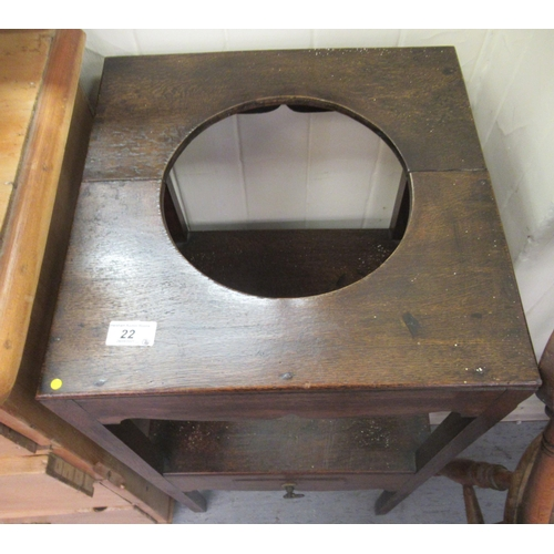 22 - Small furniture: to include a George III oak washstand with provision for a bowl, over a platform an...