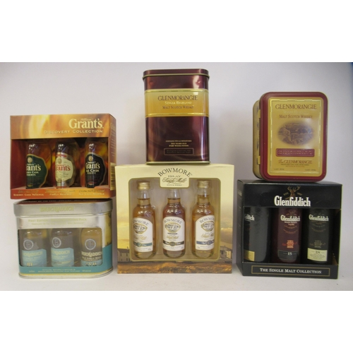 25 - Boxed and other presentation sets of single malt and other whiskey miniatures: to include Glenmorang...