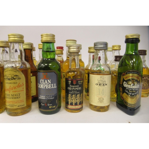 38 - Single malt and other whiskey miniatures: to include The Edradour aged 10 years and The Whisky Conno...