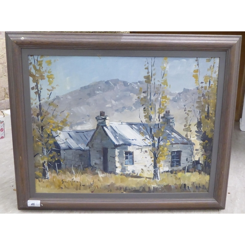 46 - Brian Halliday - two cottages in a landscape with mountains beyond oil on canvas bears a...