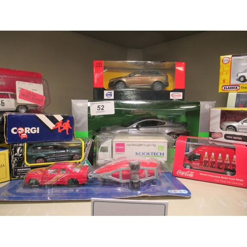 52 - Uncollated boxed, diecast model vehicles: to include a Welly, 1:24 scale model model of an Aston Mar...
