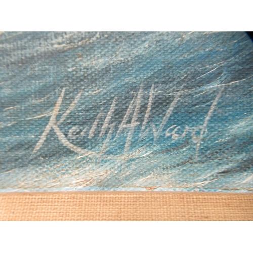 7 - Keith Alvard - a fighter jet flying over choppy seas oil on canvas bears a signature&nbs...