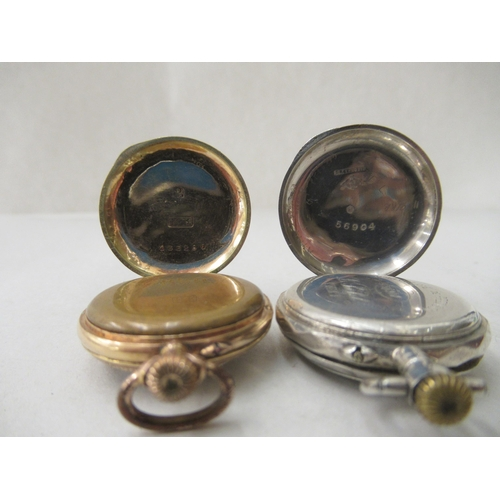 13 - Two ladies' fob watches, viz. one with an enamelled and engraved 14ct gold case, faced by an Arabic ...
