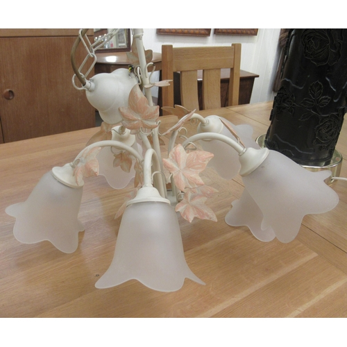 35 - A shabby chic five branch hanging centre light with foliate ornament 17