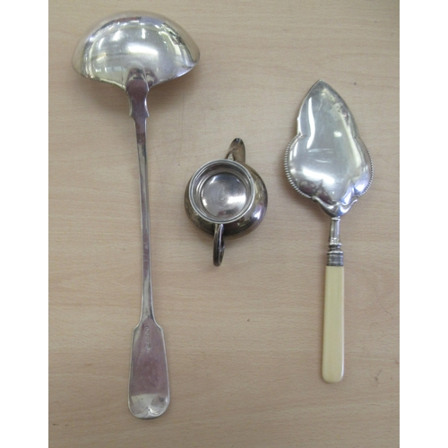 44 - Silver and white metal: to include a silver plated soup ladle; a serving slice; and a silver cream j...