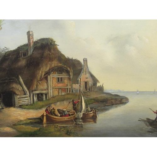5 - Early/mid 20thC Dutch School - boats coming to shore beside a cottage oil on board bears...