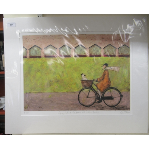 59 - Sam Toft - 'Cycling behind the beach huts (with Doris)' Limited Edition 15/250 coloured print bear...