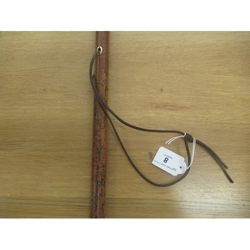 8 - A late 19thC Malacca walking cane with a horn crook handle, rose coloured metal ferrule and an eyele...
