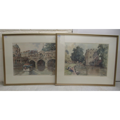 100 - Sturgeon - two town scenes coloured prints bearing blindstamps & pencil signatures, dated 1979...