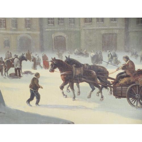102 - E Schrotter - a European street scene oil on board bears a signature 23