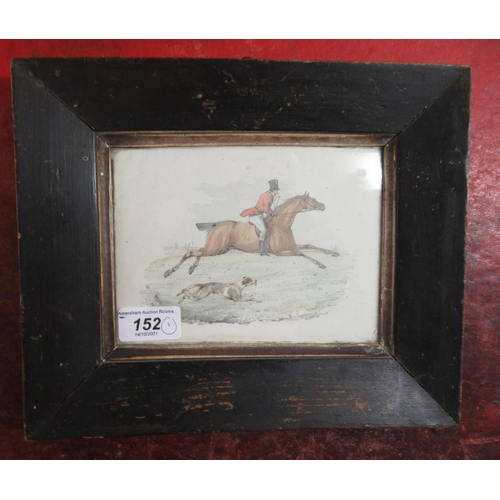 152 - Attributed to Henry Thomas Alken - a Victorian huntsman on horseback, beside a hound watercolour &a...