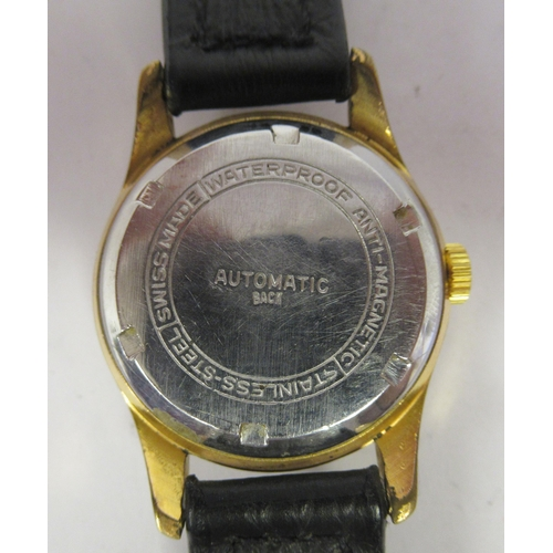253 - A Fremont 17 jewel Super-Automatic anti-magnetic wristwatch, gold plated, stainless steel case, face...