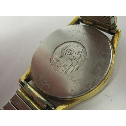 263 - A Omega De Ville circa 1970s gold plated stainless steel cased wristwatch, the quartz movement faced...