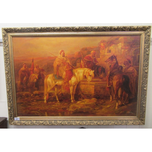 280 - L Kersh - an Arab street scene with robed figures on horseback oil on canvas bears a sig...
