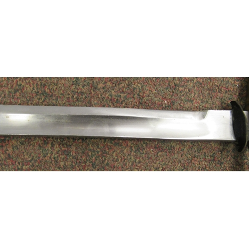 299 - A replica 18thC sword with a ribbed brass handgrip and plain guard, the blade 35''L in a brass mount...