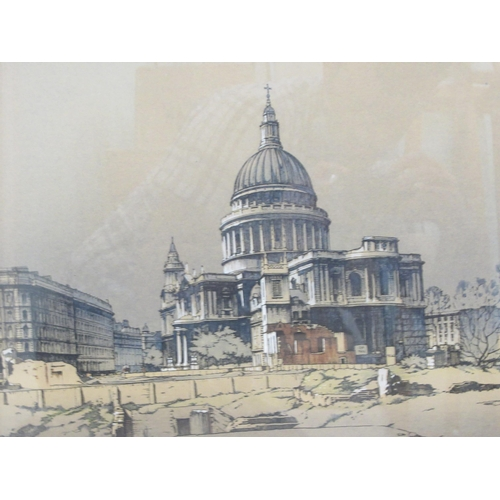 314 - Lawrence Wright - 'After the Blitz' a series of three panoramic London views in 1948coloured print...