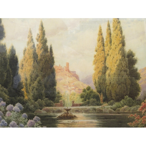 317 - Herbert George - a Central European scene with a formal garden, lake and fountain in the foreground ...