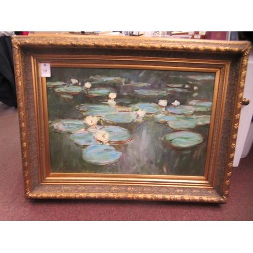 319 - 20thC British School - a study of waterliliesoil on canvasbears an indistinc...