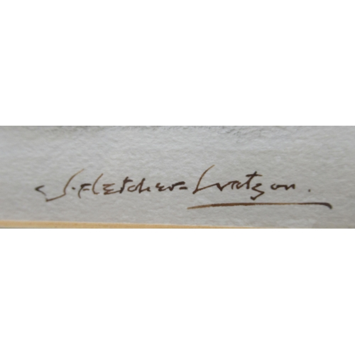 342 - Three framed watercolours: to include J Fletcher-Watson - a Dinton street scene 18