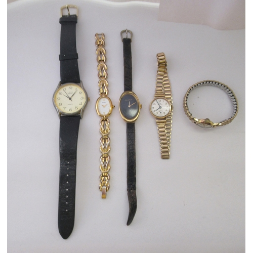351 - Watches: to include a Record 9ct gold cased examples, faced by an Arabic dial with subsidiary second...