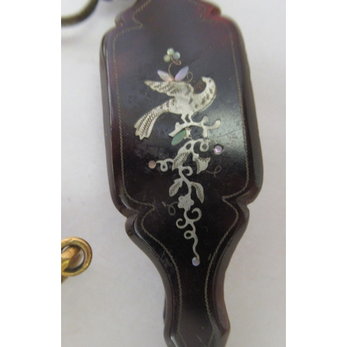 379 - Two similar late 19thC yellow metal and tortoiseshell lorgnettes; and another with inlaid ornament&n...