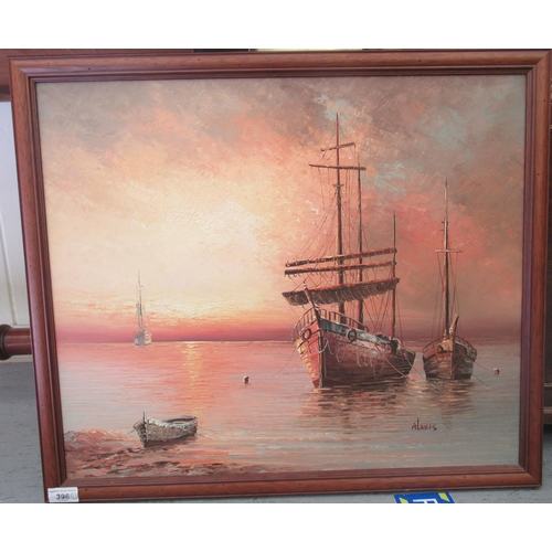 396 - Alexis - moored fishing boats at sunset oil on board bears a signature 23