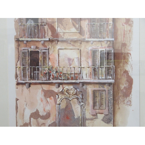 40 - Mixed media studies - an abstract street scene; and a cityscape all bearing indistinct signatures &...