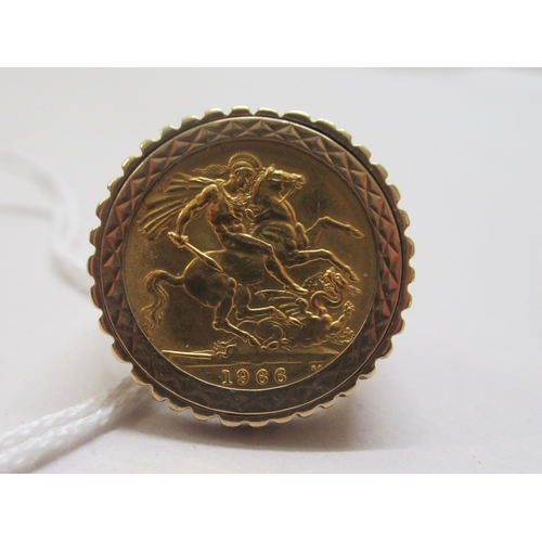 74 - A Queen Elizabeth II sovereign, St George on the obverse 1966, set in a 9ct gold ring