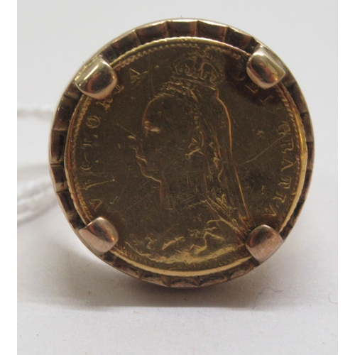 75 - A Victorian half sovereign, set in a 9ct gold ring